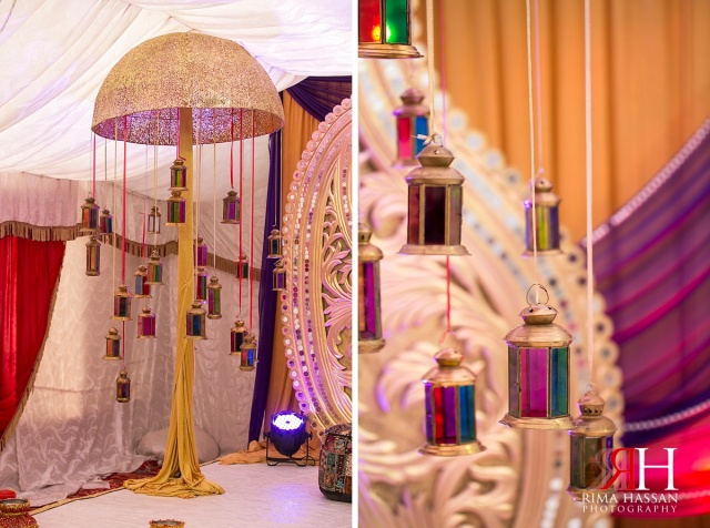 Henna_Photography_Dubai_Female_Wedding_Photographer_UAE_Rima_Hassan_indian_theme_kosha_decoration_stage_lanterns