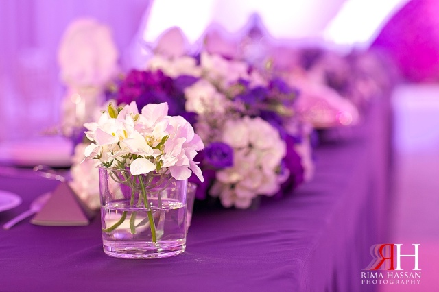 Sharja_Ladies_Club_Wedding_Female_Photographer_Dubai_UAE_Rima_Hassan_stage_kosha_decoration_purple_centerpieces