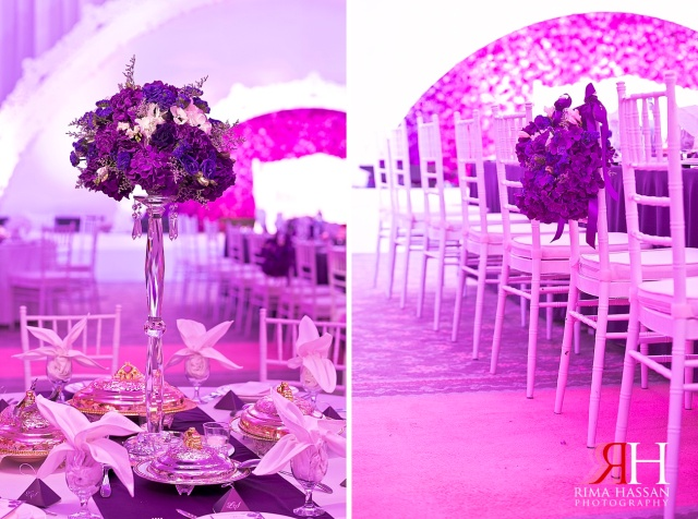 Sharja_Ladies_Club_Wedding_Female_Photographer_Dubai_UAE_Rima_Hassan_stage_kosha_decoration_purple_chairs_centerpiece_flower