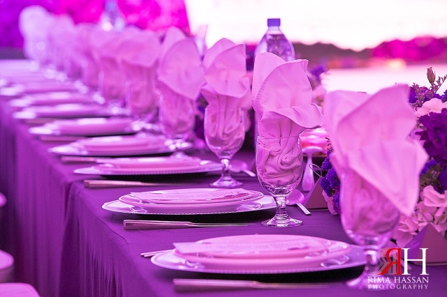 Sharja_Ladies_Club_Wedding_Female_Photographer_Dubai_UAE_Rima_Hassan_stage_kosha_decoration_purple_flower_table-setup