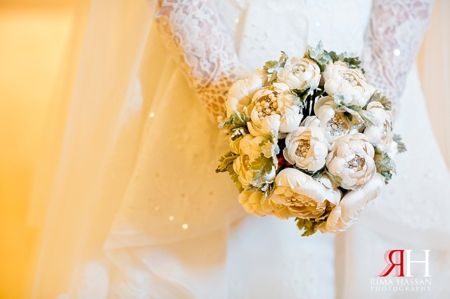 Aloft_Abu-Dhabi_Wedding_Female_Photographer_Dubai_UAE_Rima_Hassan_bridal_bouquet_fake_flowers_dress