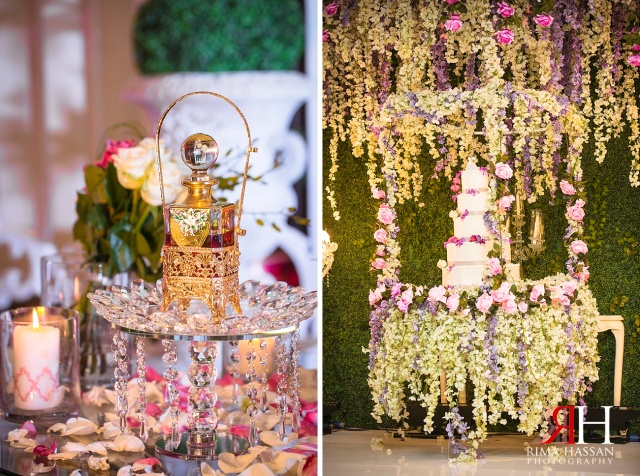 Rotana_Beach_Abu-Dhabi_Wedding_Female_Photographer_Dubai_UAE_Rima_Hassan_kosha_stage_flowers_decoration_hanging_cake