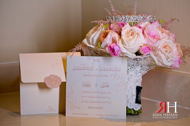 Bustan_Rotana_Female_Wedding_Photographer_Dubai_UAE_Rima_Hassan_invitation_bouquet_fiore