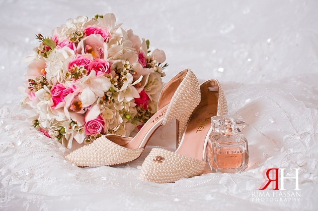 Crowne_Plaza_Wedding_Female_Photographer_Dubai_UAE_Rima_Hassan_bridal_shoes_boquet