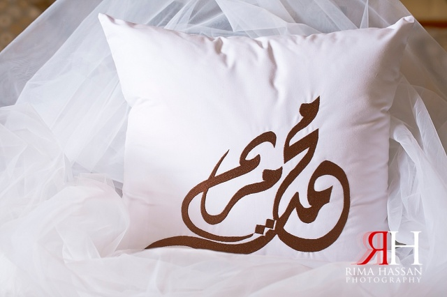 Trade_Center_Wedding_Female_Photographer_Dubai_UAE_Rima_Hassan_bride_groom_name_pillow