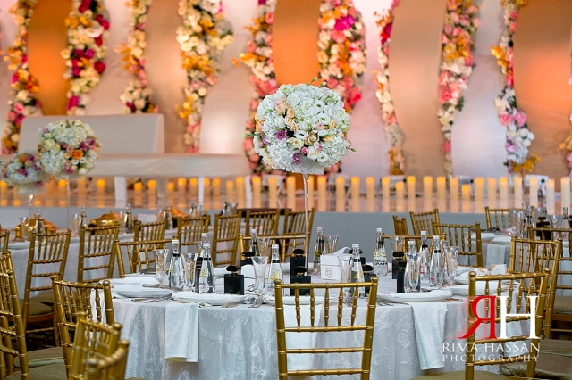 Trade_Center_Wedding_Female_Photographer_Dubai_UAE_Rima_Hassan_kosha_stage_decoration_tall_centerpieces