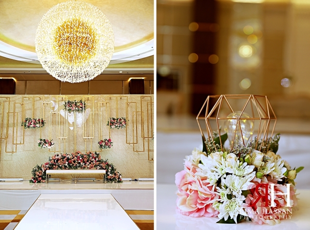 Barsha_Hall_Dubai_Wedding_Female_Photographer_Rima_Hassan_kosha_decoration_stage_bulb_centerpiece