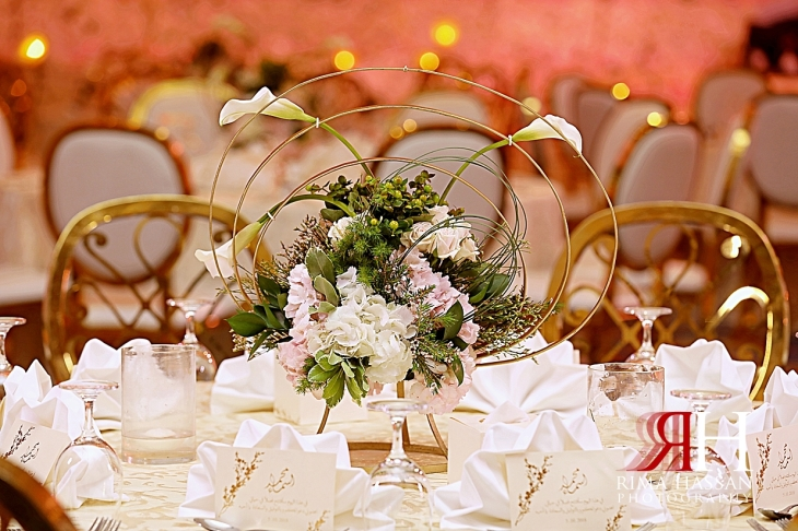 Mina_Salaam_Wedding_Dubai_Female_Photographer_Rima_Hassan_stage_decoration_round_centerpiece