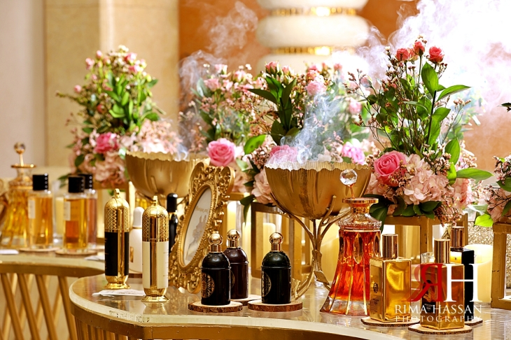 Grand_Hyatt_Dubai_Wedding_Female_Photographer_Rima_Hassan_kosha_stage_decoration_perfume_table